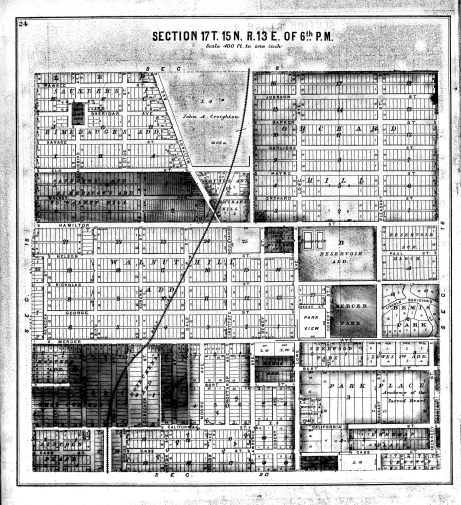 """1889 Map of Douglas and Sarpy Counties, The home would be located off of """"Institute Blvd"""""""